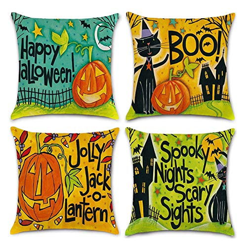 Asamour 4 Pack Happy Halloween Theme Home Decorative Square Pillowcase Funny Pumpkin Jack-o-Lantern with Letters Words Burlap Throw Pillow Cushion Cover 18''x18'' (4 Pack Halloween-A) -