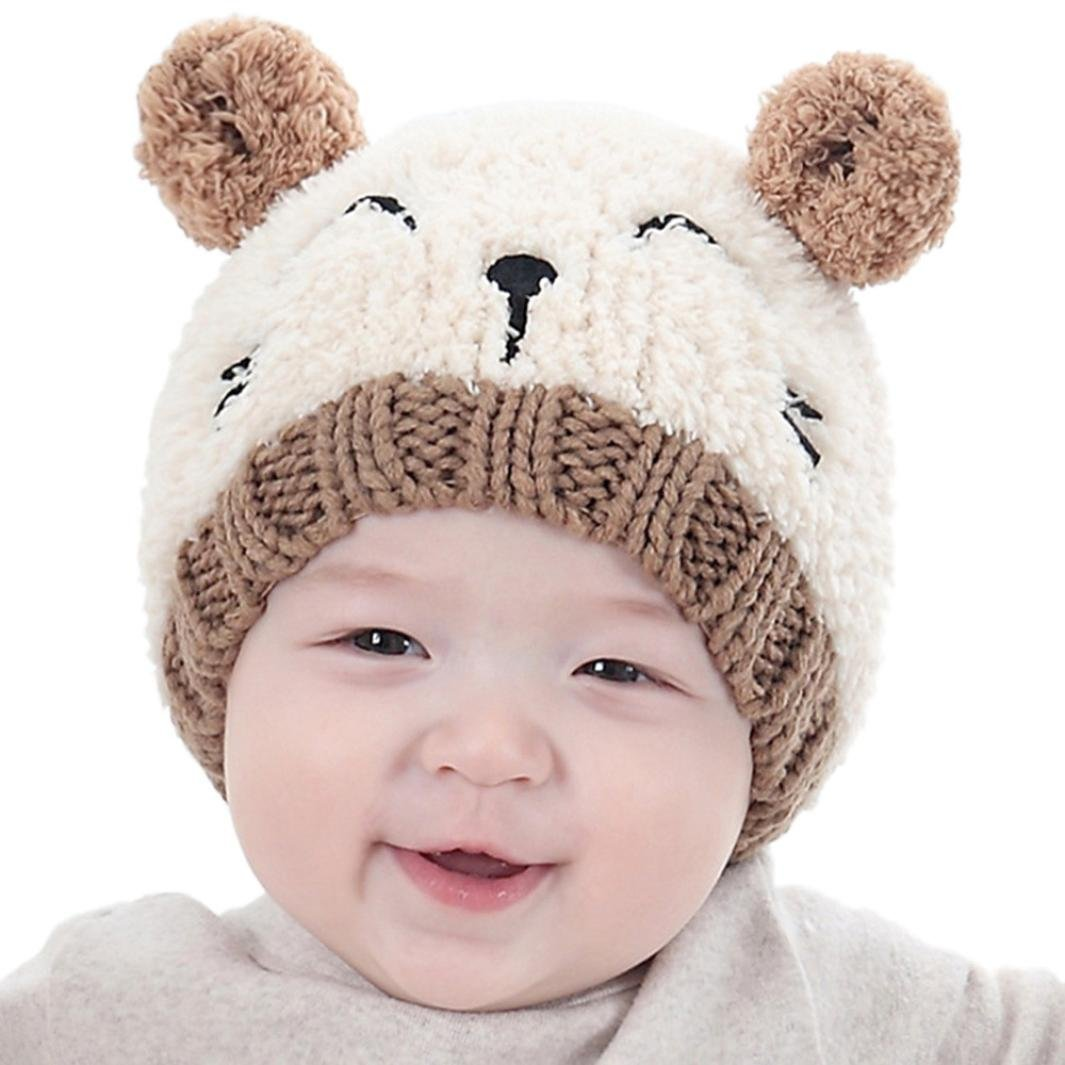 a09dad03258fcd Baby Boy Girls Cute Warm Knit Bear Hat Toddler Kid Winter Crochet Beanie Cap  (Beige): Clothing