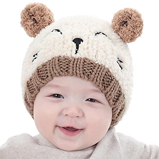 b2e97b184b72 Amazon.com  Hot Sale! Baby Boy Girls Cute Warm Knit Bear Hat Toddler Kid  Winter Crochet Beanie Cap (Beige)  Clothing
