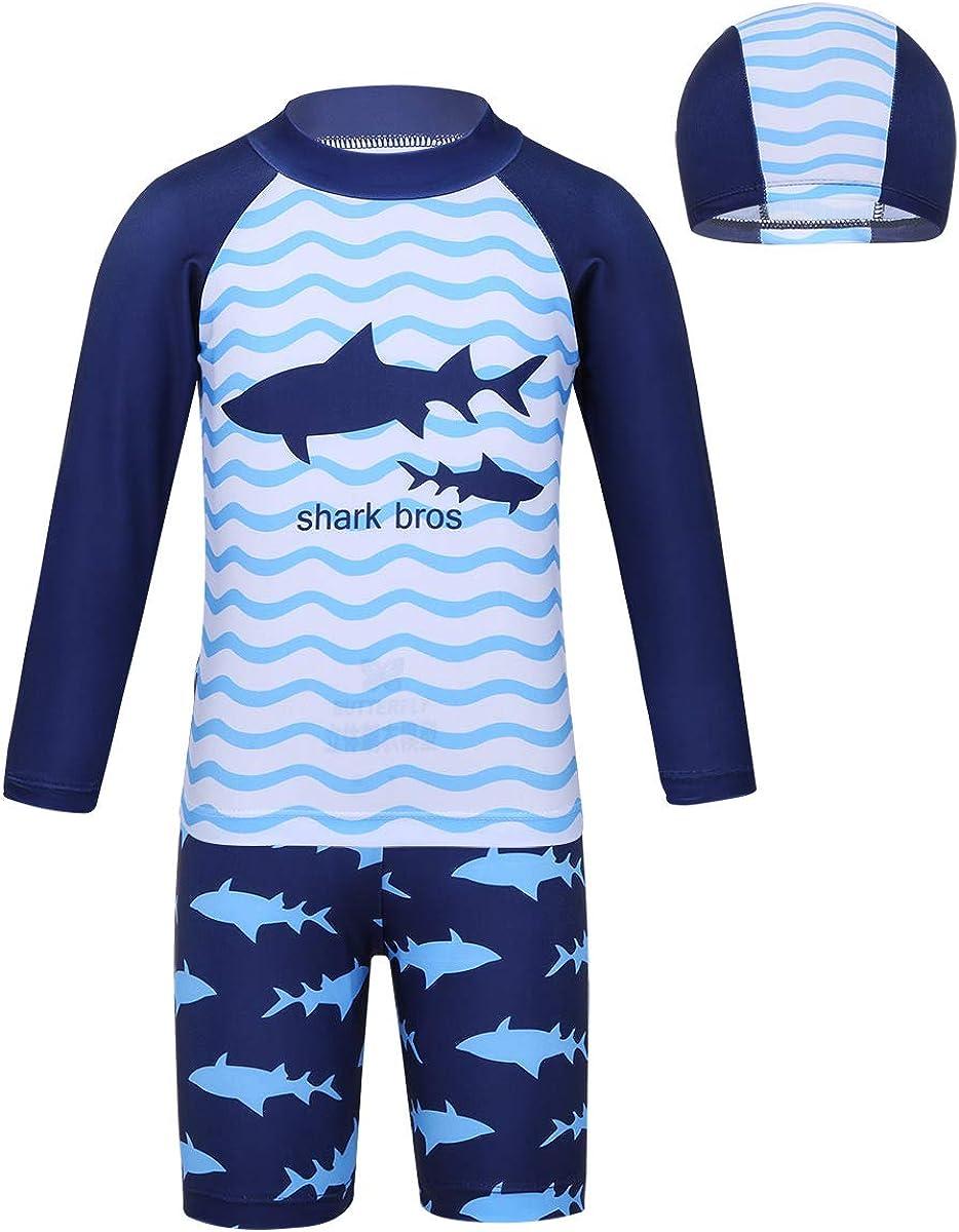 zdhoor Kids Boys 3PCS Rash Guard Swimsuit Swimwear Sunsuit Long Sleeve Shark Pattern Tops with Bottoms Cap Set