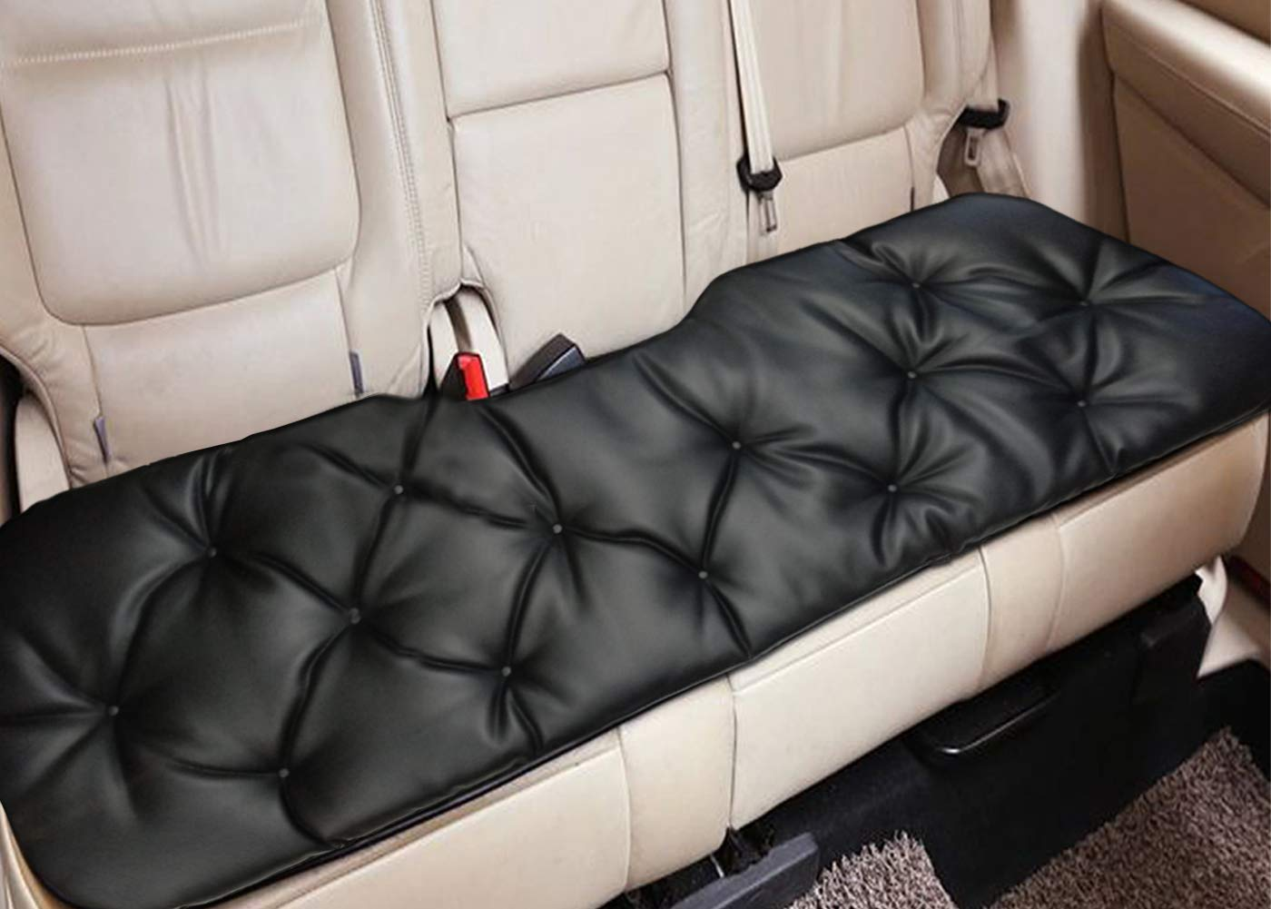 "Big Ant Rear Car Seat Cover Breathable Back seat Cover Cushion Pad Mat Fit for Most Cars,Vans,SUVs,Trucks,Supplies with PU Leather(Black- Back Row 58.3"" x 18.9"") Thanks for your time"