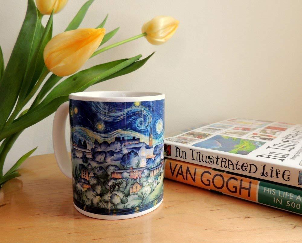 Ceramic Coffee Mug of Cornell University, van Gogh Starry Night Ithaca Watercolor by Cheryl Chalmers