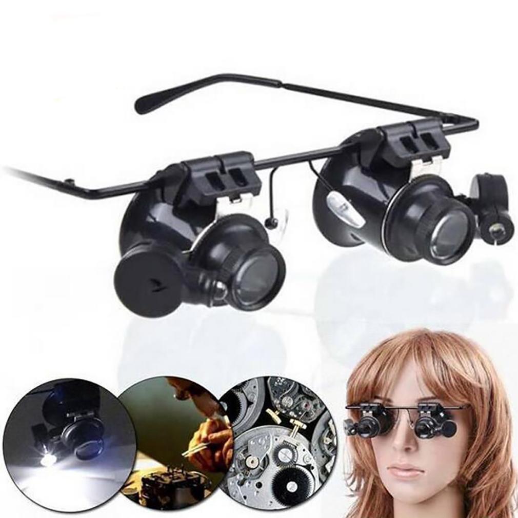 YDFDJT 20X LED Lupa Gafas de Lupa de Acrílico Lente Lente Acrílico Lupa Gafas con Luz de Reloj de Reparación de Herramientas f61fbf