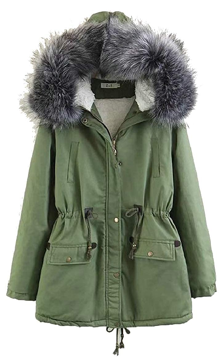 2 pujinggeCA Womens Faux Fur Hooded Drawstring Parka Jacket Warm Long Down Coat