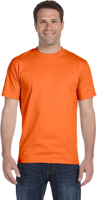 Hanes Men's Comfortsoft T-Shirt, 2 Orange / 2 Deep Forest, L (Pack of 4)