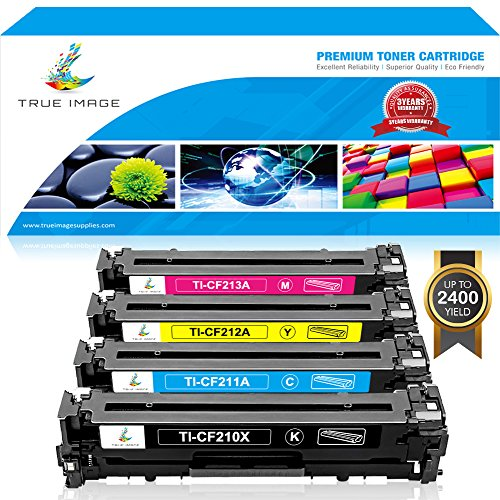True Image 4 Packs Compatible HP 131X CF210X Toner Cartridge for HP 131A CF210A CF211A CF212A CF213A for HP LaserJet Pro 200 color M251nw M251 M251n MFP M276 M276n M276nw Canon MF8280Cw Printer Ink -