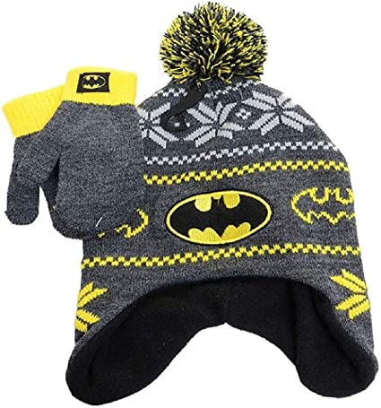 Baby Boys Grey Knitted with Fleece Lining Hat and Mitten with Batman Hero detail