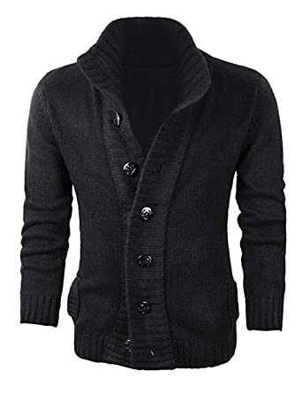 fea0b6c916 Yeokou Men s Casual Slim Thick Knit Button Front Stand Collar Cardigan  Sweaters