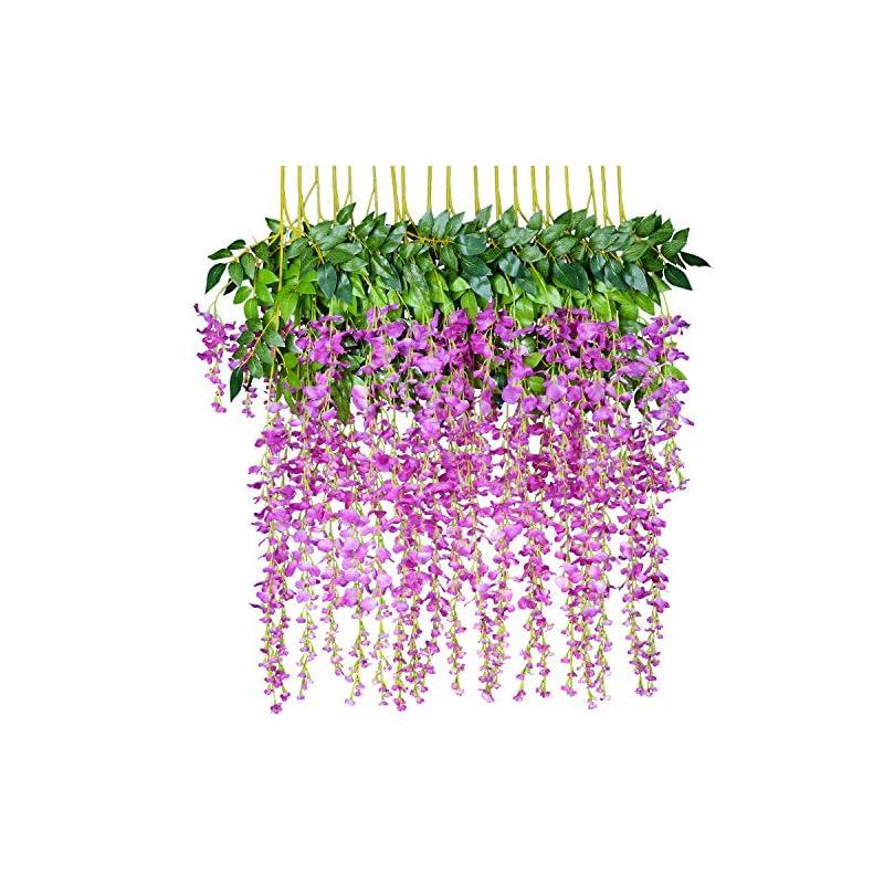silk flower arrangements 12 pack 1 piece 3.6 feet artificial flowers silk wisteria vine ratta hanging flower for wedding garden floral diy living room office decor (purple)