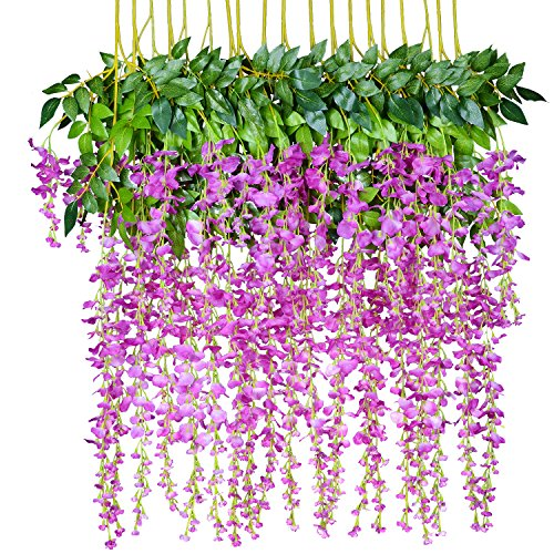 12 Pack 1 Piece 3.6 Feet Artificial Flowers Silk Wisteria Vine Ratta Hanging Flower for Wedding Garden Floral DIY Living Room Office Decor (Purple) ()
