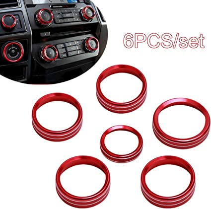 Red Whole Set Knob Cover 6pcs Aluminum Alloy Car Inner Air Conditioner /& Trailer /& 4WD Switch Knob Ring Cover Trim For Ford F150 XLT 2016 2017