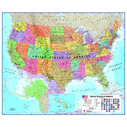 Full Map Of Usa.Amazon Com Laminated Us Map Usa Maps Posters Prints