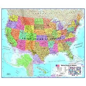 Amazoncom Laminated US Map Usa Maps Posters Prints - Amazon map of us