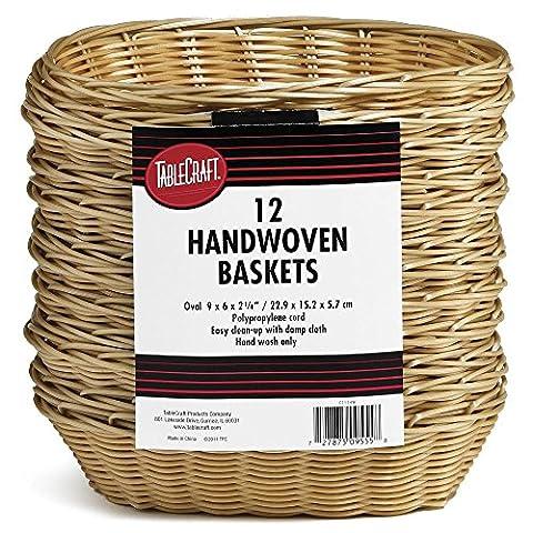 TableCraft C1174W Natural Oval Hand Woven Baskets - 12 / PK - Hand Woven Oval Basket