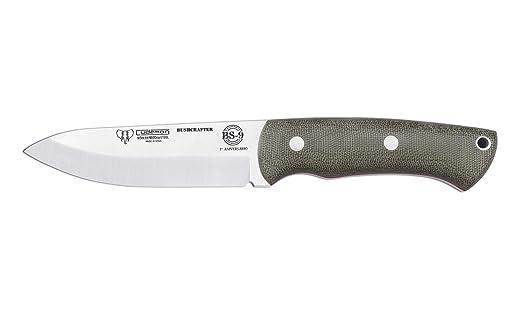 Cuchillo Cudeman 206-F Mod. BS9 Bushcrafter Micarta Canvas Hoja 11 cm. Acero Bohler y Funda Cuero Marrón