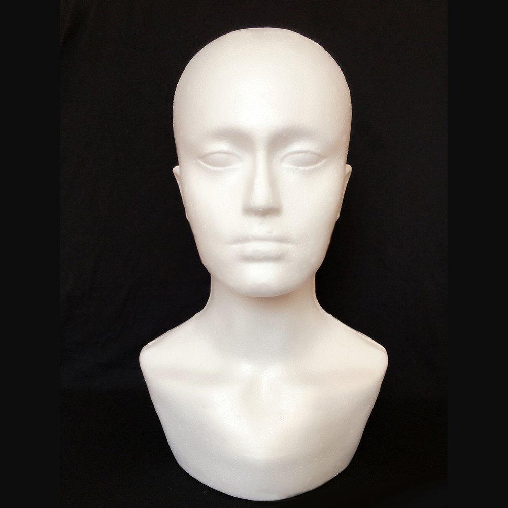 Bluelans Male Styrofoam Wig Head Mannequin Hats Glasses Foam Mannequin (White)