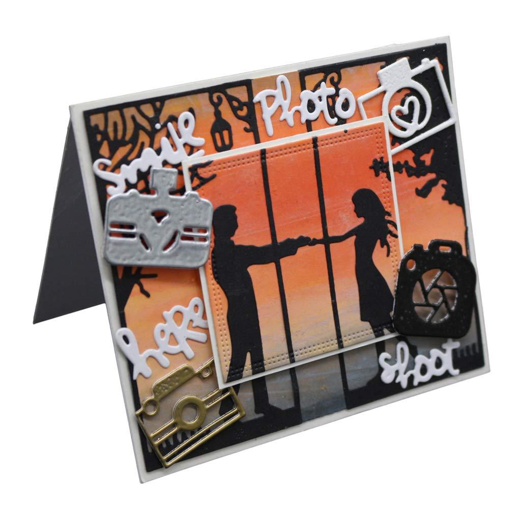 Meilear decorazioni in rilievo biglietti Fustelle in metallo a forma di macchina fotografica album di ritagli stencil fai da te timbro