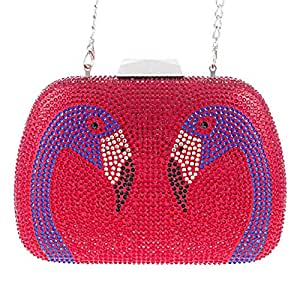 Redland Art Women's Fashion Sparkly Crystal Flamingo Mini Clutch Bag Wristlet Evening Handbag Catching Purse Bag for Wedding Party (Color : Red)