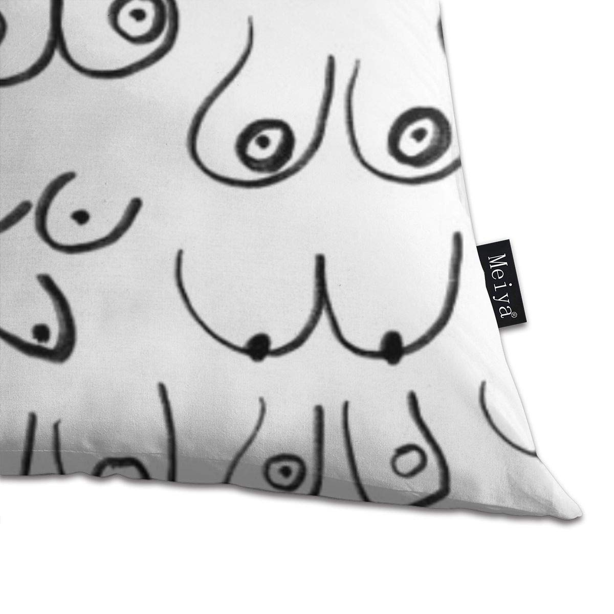 Boobs Pattern Black and White Line Drawing Feminine Art Pillowcase Home Life Cotton Cushion Case 18 x 18 inches Life Drawing