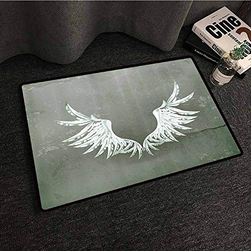 Wing Front Ferrari - Grunge Home Decor Interesting Doormat Old Fashion Coat of Arms Wings in Front of Cracked Dirty Wall Royal Insignia Design Easy to Clean W16 xL24 Grey White