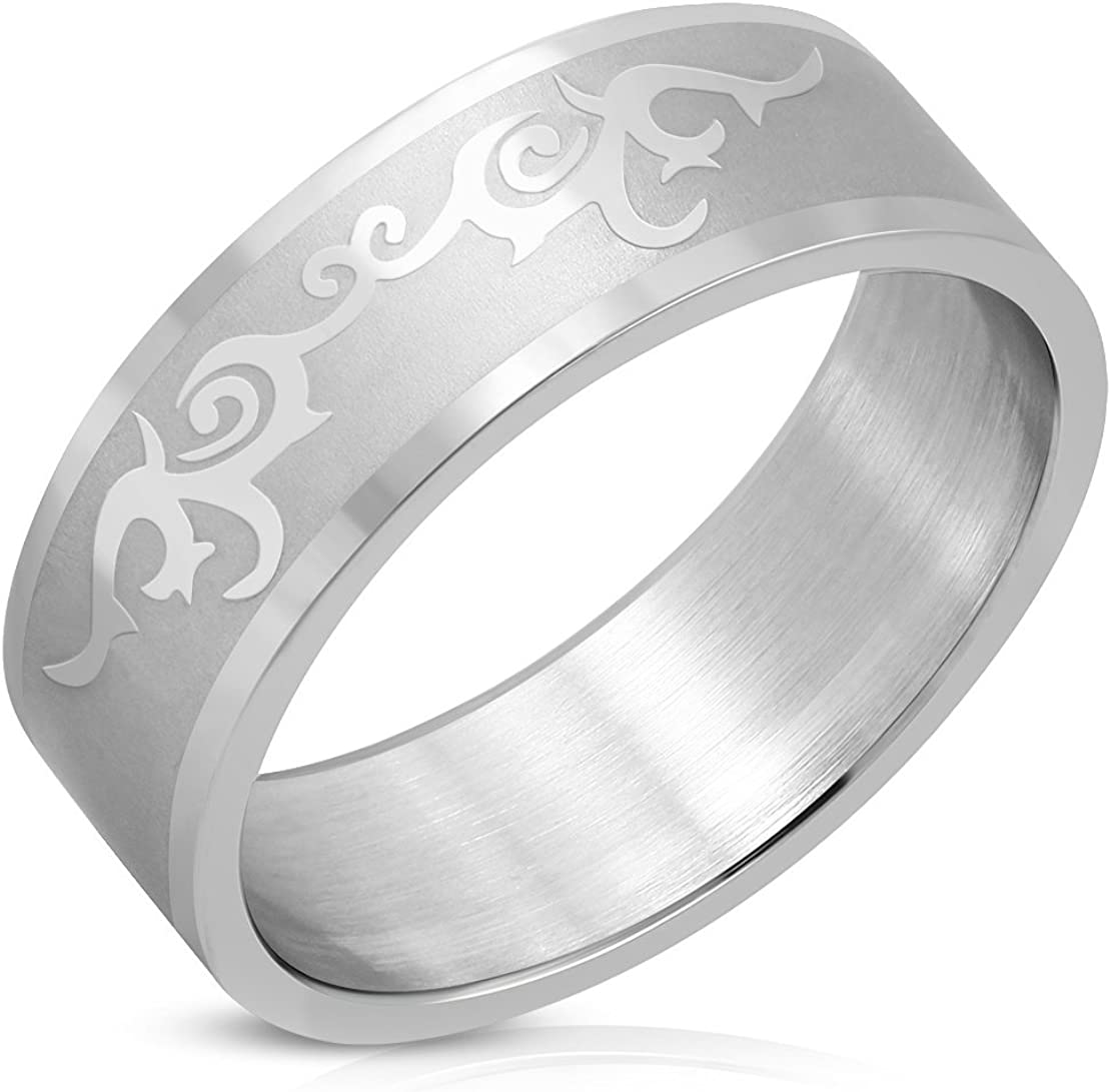 Stainless Steel Matte Finished Spiral Tribal Vine Flat Band Ring
