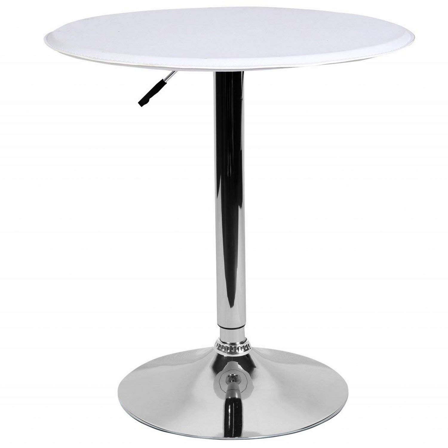 LCH 23.6'' PU Top Adjustable Round Dining Bar Table Kitchen Home Bar Furniture, White
