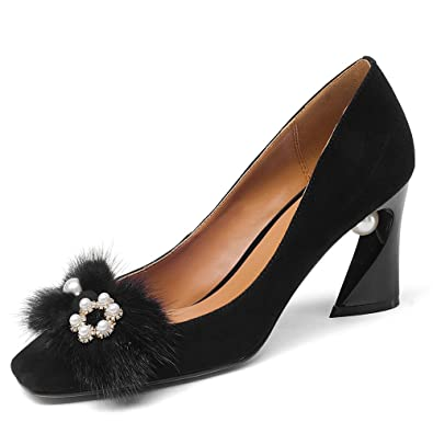 e1c137101b6a Nine Seven Suede Leather Women s Square Toe Chunky Heel Pearls Handmade Pumps  Shoes with Fur (