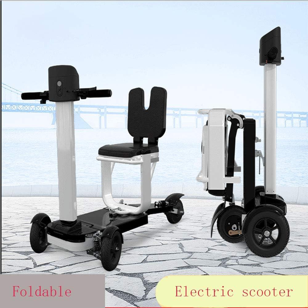 JCDZSW Scooter eléctrico Plegable invertido de Tres Ruedas para Conducir en Cualquier Carretera de la Ciudad, Seguro, Crucero a Velocidad Constante, Frenos estables, Plegado rápido (Blanco)