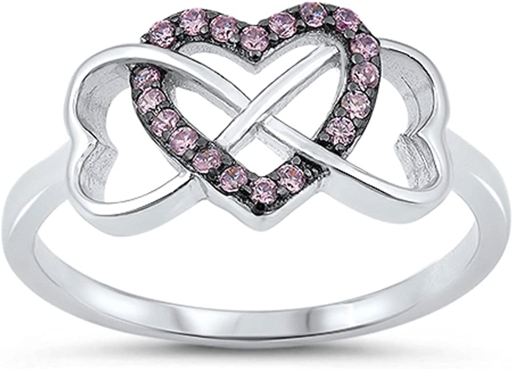 CloseoutWarehouse Clear Cubic Zirconia Swirl Infinity Ring Sterling Silver