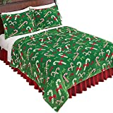 Collections Etc Holiday Theme Candy Canes Fleece Blanket Coverlet, Green, King