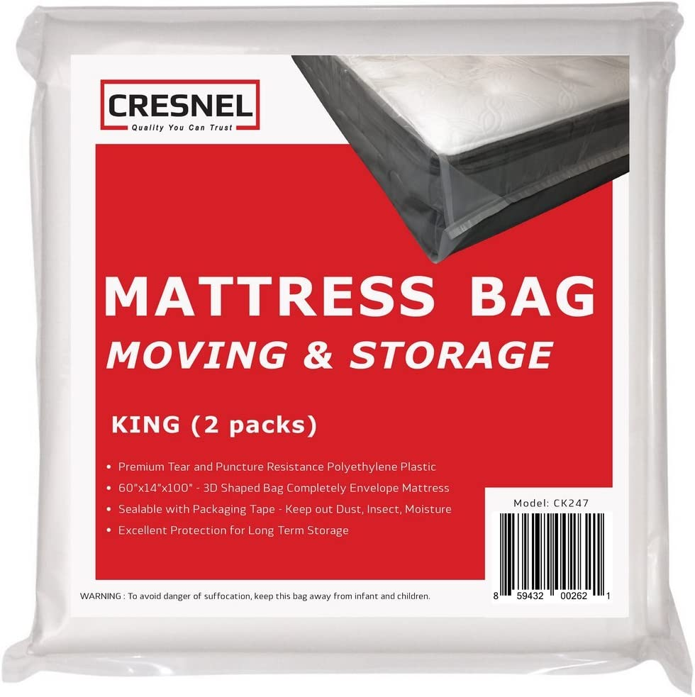 CRESNEL Mattress Bag for Moving & Long-Term Storage - King Size - Enhanced Mattress Protection with 5 mil Super Thick Tear & Puncture Resistance Polyethylene (Value Pack of 2pcs)