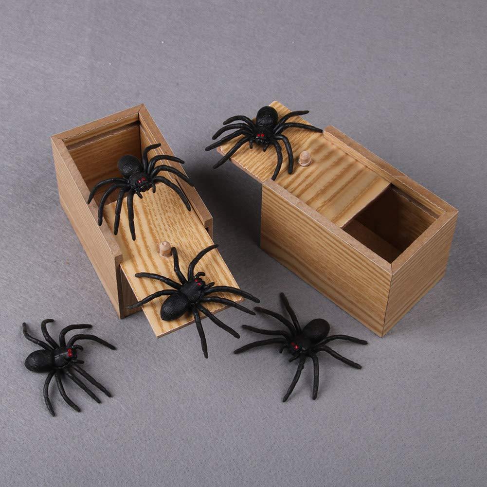 Diawp Gag Gift Tricky Toy Funny Prank Spider Scare Box in Legno Realistico per Bambini Adulti