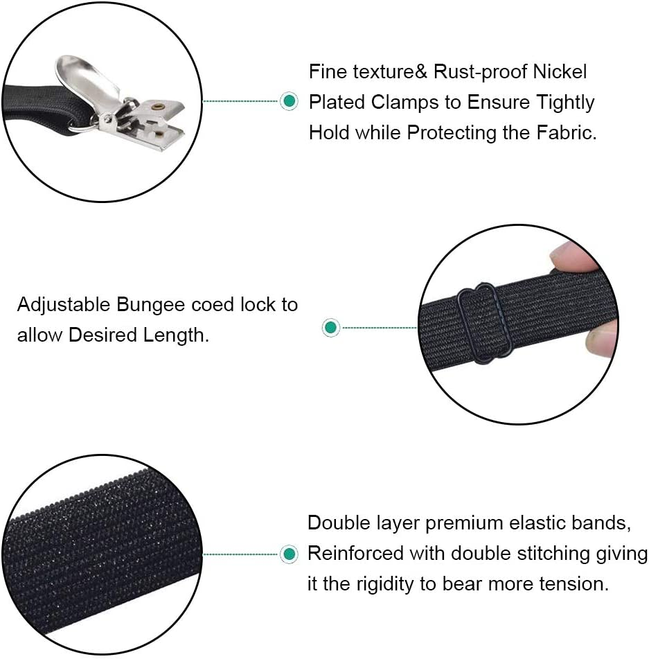 4Pcs Adjustable Bed Sheet Straps Clips, Elastic Mattress Sheet Fasteners Holder and Suspenders, Grippers to Hold Sheet, Mattress, Sofa, Couch, Table Cloth, Recliner Ironing Board Cover and More: Home & Kitchen