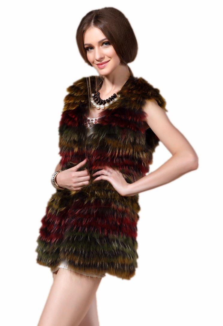 Queenshiny New Style Women's 100% Real Raccoon Fur Multicolored Vest Gilet-Multicolor-M(8-10)