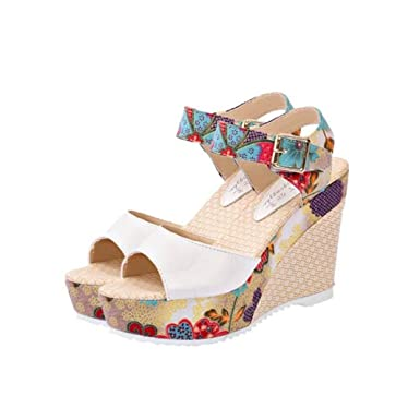 a2914d6e3d5 DIGOOD Floral Sandals with High Heels for Women
