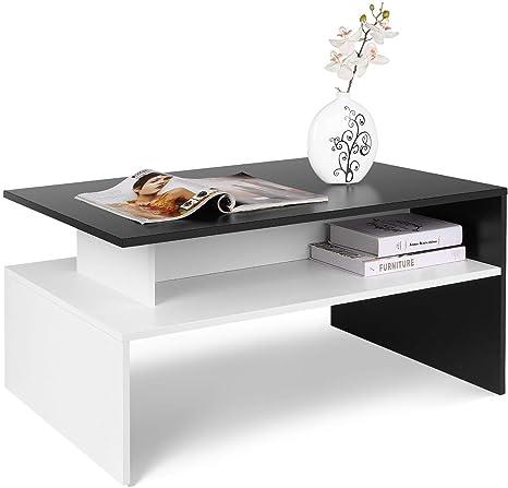 Homfa Mesa Centro Moderna Mesa de Café para Salón Mesa Baja Mezcla Negro y Blanco 90X54X43CM