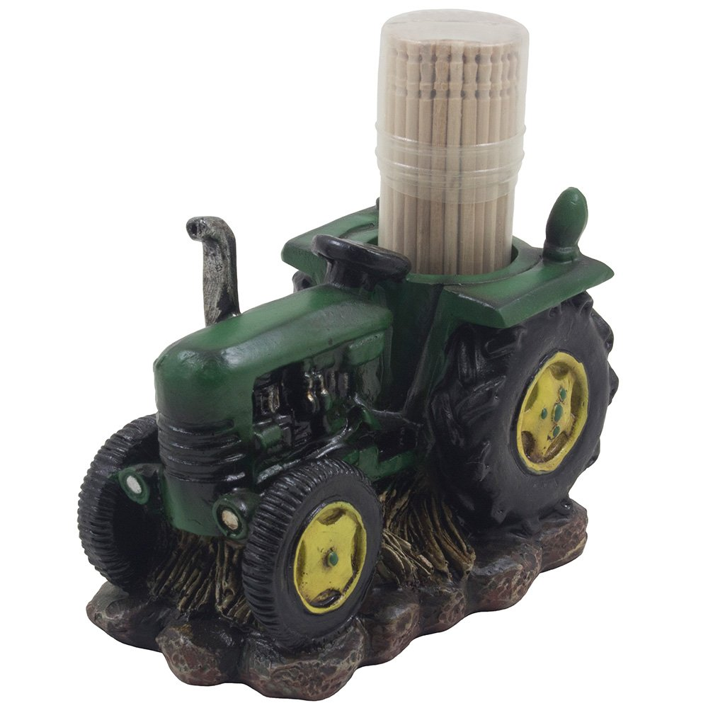 Classic Green Farm Tractor Toothpick Holder Figurine for Rustic Country Kitchen Decor or Retro Bar Decorations As Decorative Vintage Model Gifts for Farmers