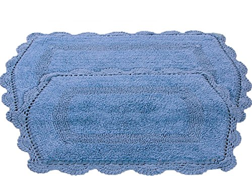 affinity home collection lbr2pctble 100 cotton reversible bath rug with crochet lace set of 2 blue