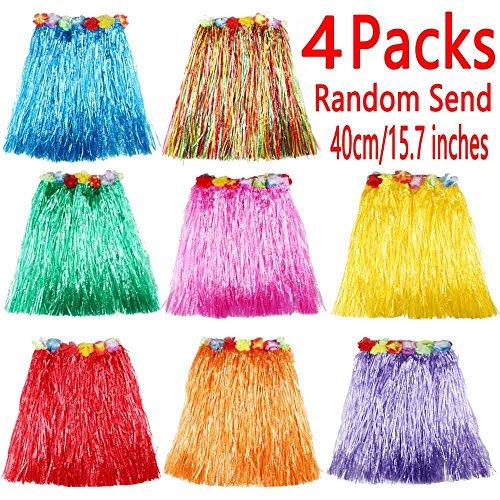 4 PCS - Elastic Hawaiian Hula Dancer Grass Skirts - Hawaiian Luau Party Favors - Length(40cm/15.7inches) - Plastic Grass Skirt