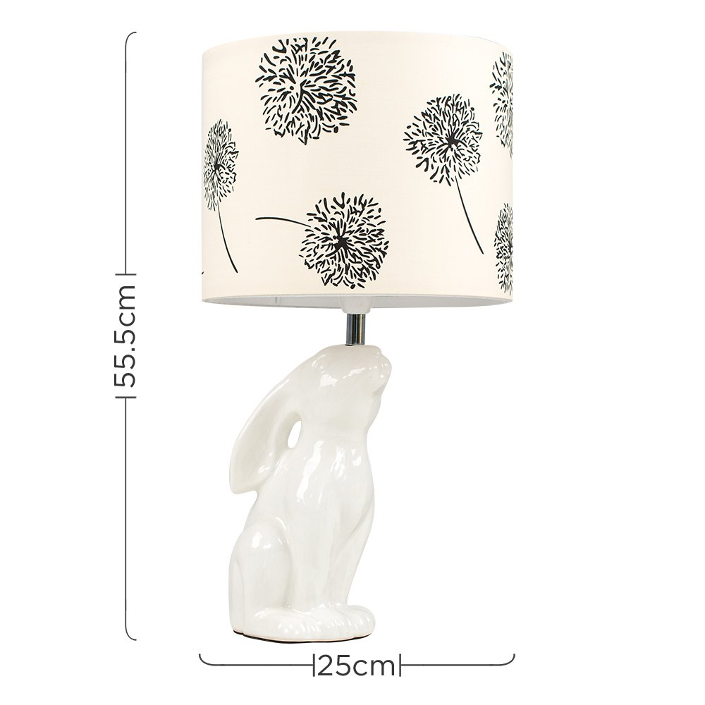 Modern gloss cream ceramic rabbit hare table lamp with a black cream floral cylinder light shade amazon co uk lighting