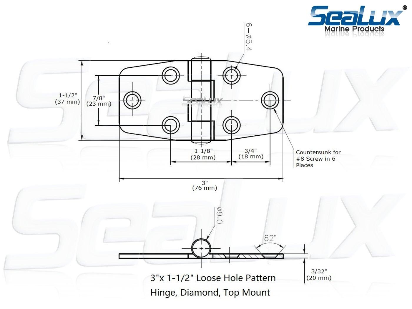 WestCo RVs SeaLux Marine Grade Stainless Steel Mirror Polished Door Hinge 3 x 1.5 for Boat Pair