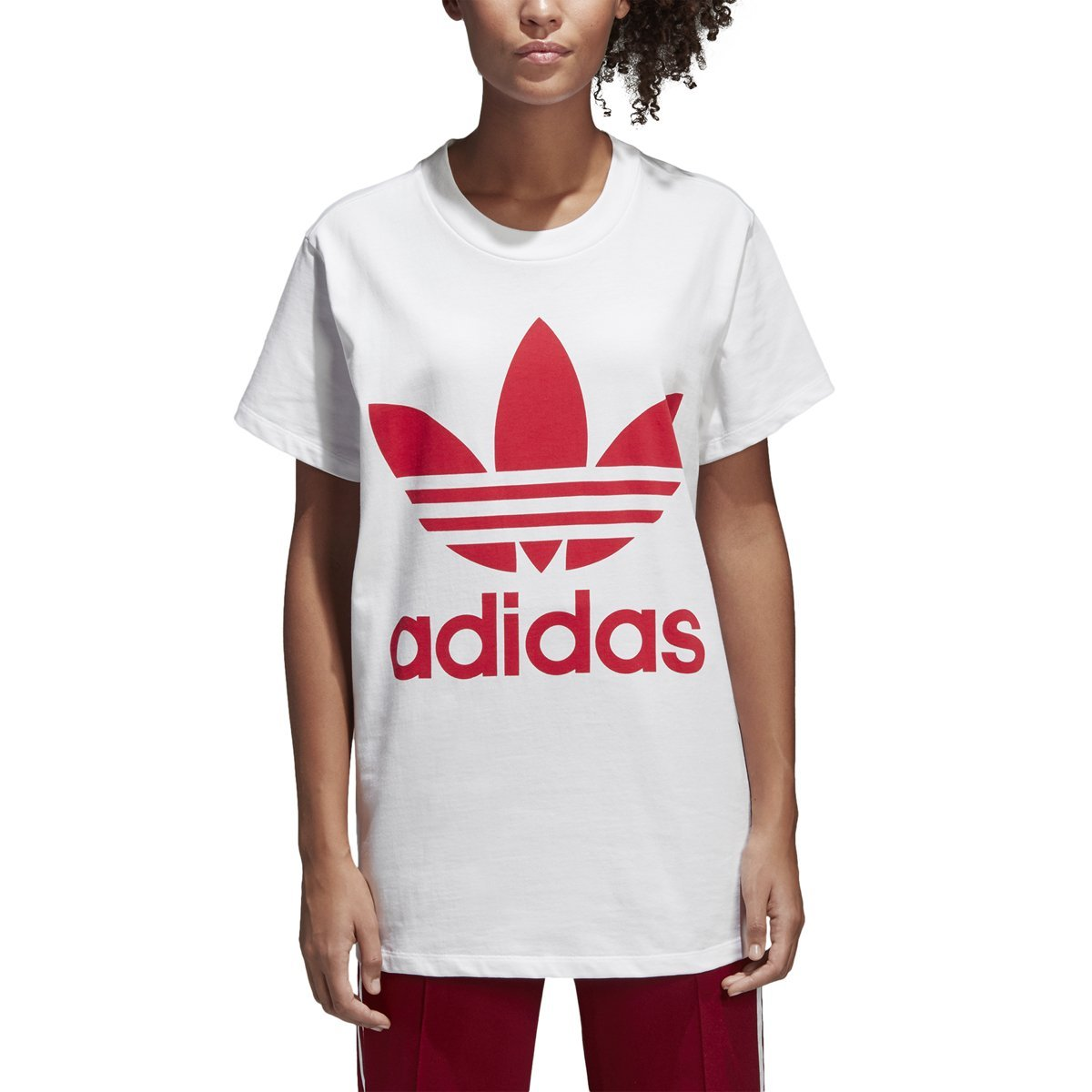 adidas Originals Women's Trefoil Tee, White/Radiant Red, XS