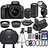 Nikon D5600 DX-format Digital SLR w/ AF-P DX NIKKOR 18-55mm f/3.5-5.6G VR and 70-300mm F/4.5-5.6G DX Lens + 32GB Memory Professional Accessory Bundle – International Version