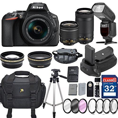 Nikon D5600 DX-format Digital SLR w/ AF-P DX NIKKOR 18-55mm f/3.5-5.6G VR and 70-300mm F/4.5-5.6G DX Lens + 32GB Memory Professional Accessory Bundle – International Version by Grace Photo