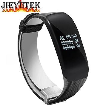 Jieyutek H5 Reloj inteligente, IP68, resistente al agua, monitor de frecuencia cardiaca, Bluetooth, pulsera inteligente, ideal para nadar, negro: Amazon.es: ...