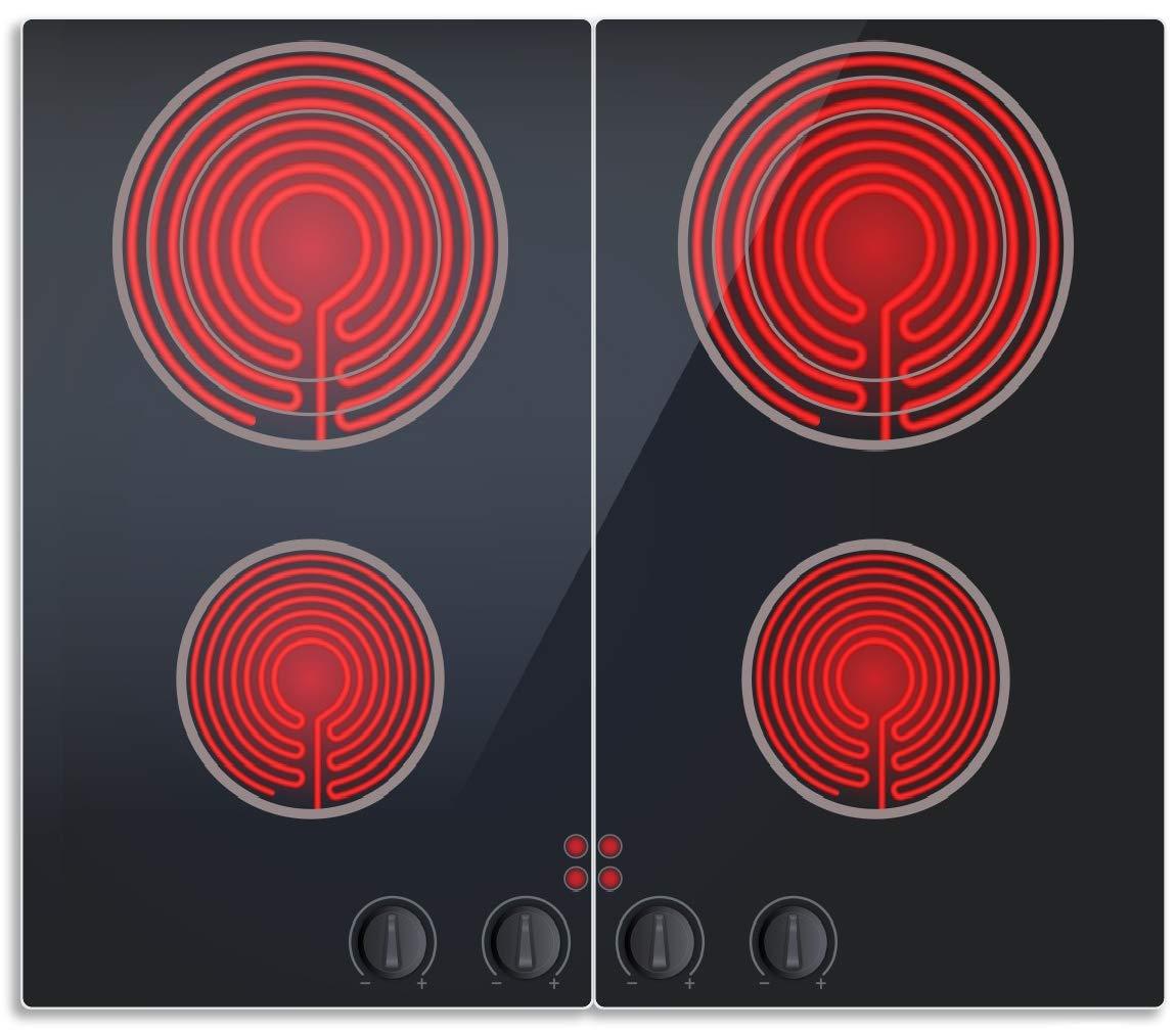 Wallario Herdabdeckplatte/Spritzschutz aus Glas, 1-teilig, 52x60cm, für Ceran- und Induktionsherde, Aktives Cerankochfeld Induktionskochfeld Optik - Standard schwarz rot mit 4 Kochplatten und Bedienf