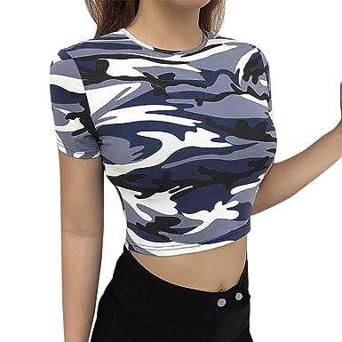 a5ca5e9afe810 Hunzed Women Shirt  Camouflage Tank Tops     Short Sleeve Pullover ...
