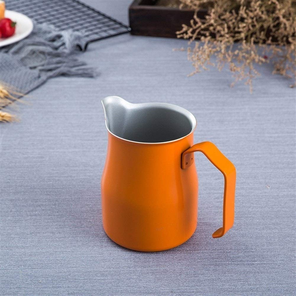 XIAOLAOBIAO Multicolor Stainless Steel Milk Frothing Pitcher Espresso Cappuccino Cup Coffee Mug Pitcher Craft Latte Pot Barista Tool (Capacity : 350ML, Color : Orange) by XIAOLAOBIAO