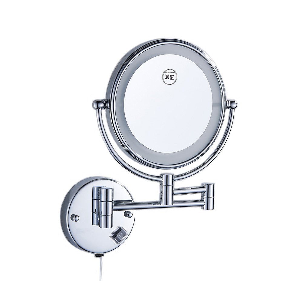Ameandyou Bathroom Makeup Mirrors Wall Mounted LED Lighted 3X Magnifying Double Sides Adjustable Extendable Arm 8 inch Brass Chrome