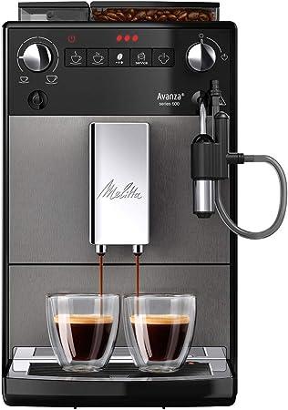 Melitta Avanza F270 100, Cafetera Automática con Molinillo Silencioso, Sistema de Leche, Depósitos XL, Limpieza Automática, Personalizable, Titanio